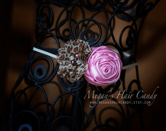 Leopard and Pink Floral Headband
