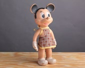Rubber Mickey Mouse Squeak Toy - Sun Rubber - 1949