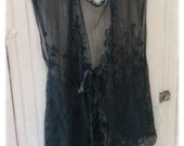 Fancy Black Lace Over Vest Layering Piece Womens Large Shabby Chic Boho Altered New Never Worn