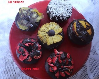 Vegan Gluten free chocolate  doughnuts with dehydrated fruits 6 pieces ,Love and Compassion,Birthday,Wedding.