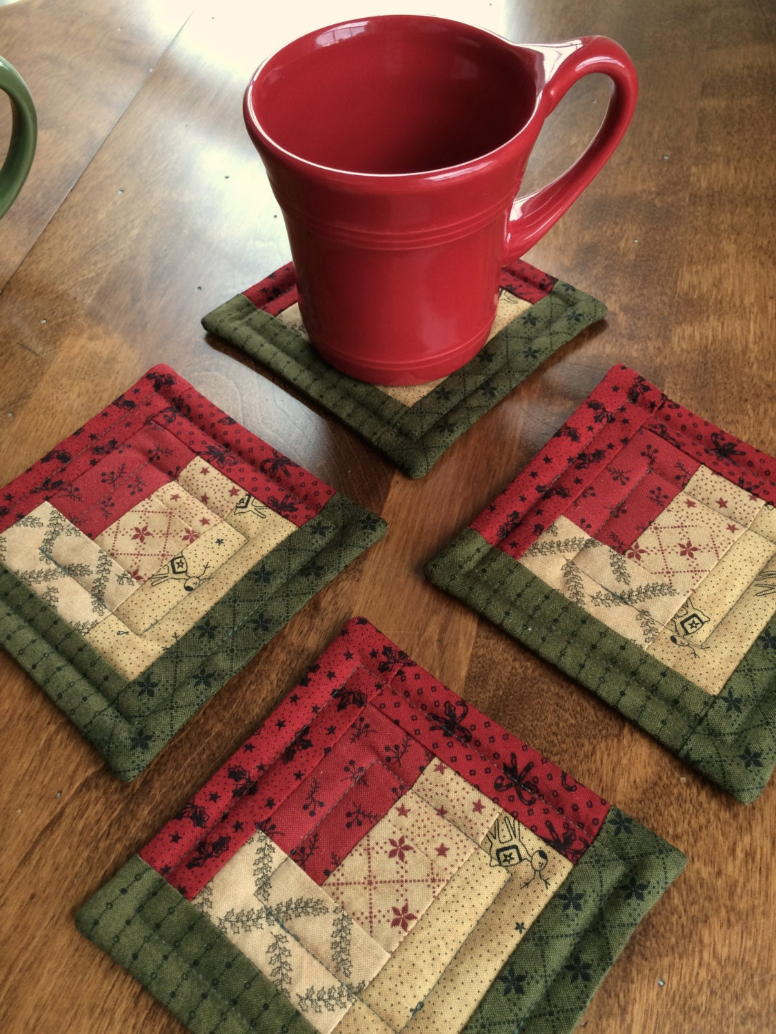 4 Quilted Log Cabin Christmas Coasters Moda Fabrics In Red