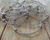 BULK 20pc Stainless Steel Bangles, Expandable Bangles, Bangle Bracelets, Bracelet Blanks, Hand Stamp Supply, Jewelry DIY, 3 Sizes Available