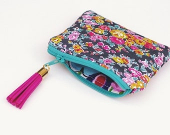 Coin Purse Zipper Pouch - Liberty London Pink Gray
