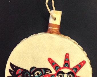 RAVEN STEALING the SUN Holiday Drum Ornament by Israel Shotridge Tlingit Northwest Native American Artist