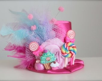 Hot Pink Candy Party - Candyland Inspired with Cupcakes Gumdrop and Lollipops BIRTHDAY Mini Top Hat Headband (or fascinator)