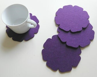 Felt Coasters, set of 4,  home deco party supply wedding birthday gift, modern, floral/Purple.