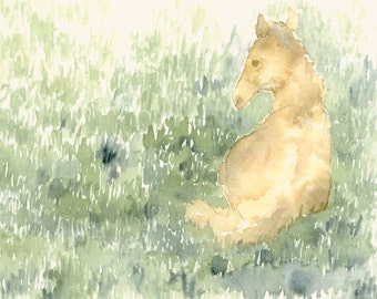 Watercolor Art Print Tiny Horse