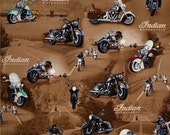 Fabric Open Road Brown Indian Motorcycles sewing quilting children crafts