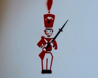 Vintage Enamelware Dish Bowl Child Toy Tin Soldier Red White Sweden Enamel Graniteware Scandinavian