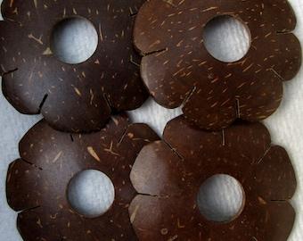 Brown Coconut Flower Focals, 45 mm  -- 4 Beads