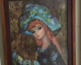 Vintage Wood Framed Pixie Print Litho