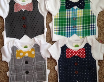 Bow Tie and Vest Bodysuit, Matching Bib, Baby Boy Gift, Boy Outfit, Baby Shower Gift