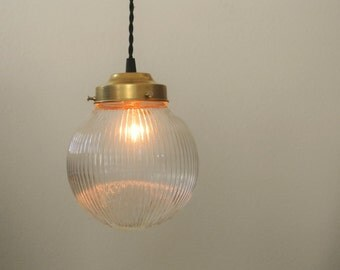 Prismatic Ribbed Glass Globe & Brass Pendant Light