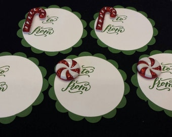 Christmas Candy Cane Glitter Gift Tags - set of 5
