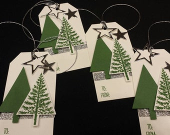 Double Christmas Tree Gift Tags - set of 4