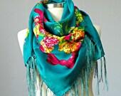 Scarf, Russian shawl scarf, square scarf, flower spring cozy scarf, fringed fashion scarf, Scarf With Tassels, for mom