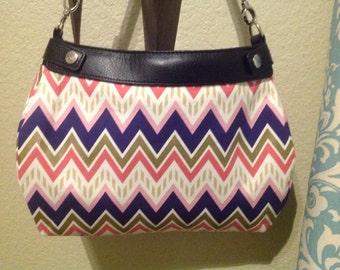 Purple, pink and gold metallic chevron suite purse cover handmade thirty one