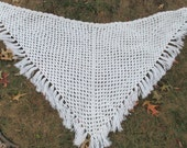 Vintage Crocheted White Shawl with Fringe Hippie Shawl Boho Shawl