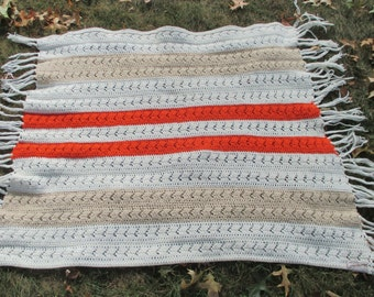 Vintage 1970s Handknit Wool Blanket Smaller Throw Lap Blanket