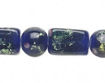 Dark Blue Millefiori Glass Beads Multi Size 13 Beads