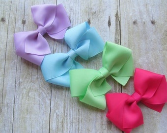 Girl Solid Hairbows Pink Purple Blue Green Baby girl Rainbow bow set Baby Shower Gift Baby Bow