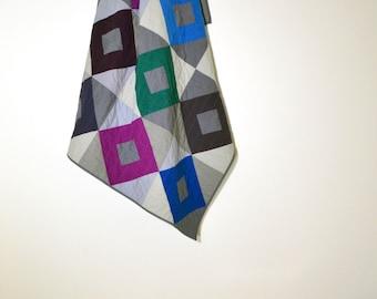 Modern Grey Quilt,  Geometric Quilt, Grey Lap Quilt, Twin Quilt, Wedding Quilt, Jewel Tone Quilt