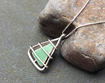 Sea glass jewelry, Beach pottery jewelry, Green beach pottery and triangle pendant