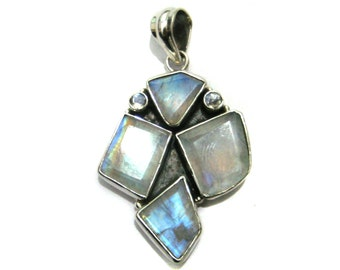 Moonstone Silver Pendant setted free form faceted Gemstones , 1 piece of handmade oxidised 925 Sterling silver Pendant best christmas gift