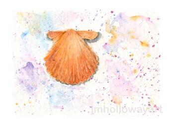 Watercolor Scallop, Scallop Print, Sea Shell Print, Shell Print