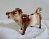 French Vintage Cow Creamer Porcelain Brown and Tan Circa 1930s