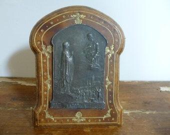 Art Nouveau Religious Icon Plaque Virgin Mary and Christ signed P.Lenoir C.1910