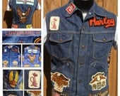 Vintage EMBROIDERED 1970s Sleeveless HARLEY DAVISON Denim Jean Jacket with 70s Bike Patches - Made in America