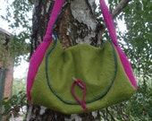 felted bag, as time goes by, pink, green, romantic, long handle, hourglass, unique, fed, bag, shoulder bag