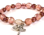Rosary Bracelet Rosé Crystal Beads Our Lady of Mount Carmel