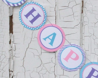 PREPPY WHALE GIRL Theme Happy Birthday or Baby Shower Party Banner Pink Purple Blue - Party Packs Available