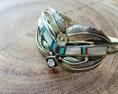 Vintage Navajo Bracelet Sterling Silver Turquoise Squash Blossom Cuff Bracelet Signed Native American Jewelry
