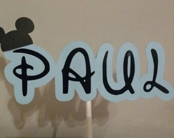 Baby Mickey Cardstock name in stick great for party centerpiece, baby shower, cake topper
