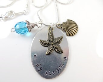 Hand stamped - by the sea - necklace