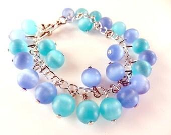 Clearance - Girls aqua and blue beaded bracelet