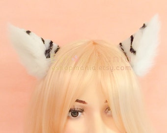 WHOLE cat ears fur hair clip / headband ,9 cm White Tiger inner White,Kitty Wolf Cat Ear elf Hair Clip Cosplay Costumes Party Halloween