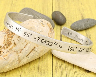 Hand stamped LATITUDE & LONGITUDE custom coordinates cuff bracelet - personalized for you by iiwii emporium