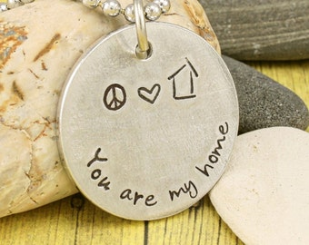 Husband Gift / Wife Gift / Partner  gift - You are my home  - Custom hand stamped family tags by iiwii emporium