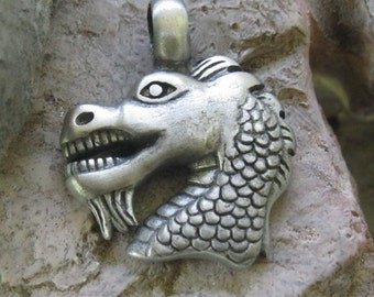 Dragon Pendent Silver Dragon  Head Charm Brushed Pewter 38.5 MM 1 Piece