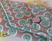 Birth Control Case/Pill Pack Sleeve/ ID Snap Wallet  with Snap Closure - Small aqua accents