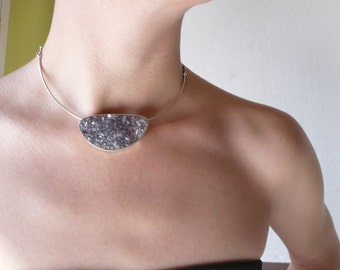 Amethyst natural druzy stone choker _ sterling silver amethyst choker_ amethyst