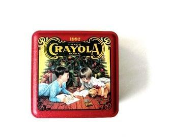Vintage 1992 Crayola Holiday Tin Christmas Scene Collectible Storage Box