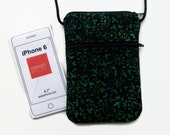 iphone Crossbody, Small Purse, Hipster, Black and Green, Batik Fabric