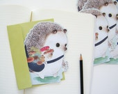 Birthday Card - Hedgehog Mushroom Gatherer - Woodland