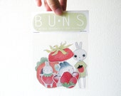 Strawberry Bunny Stickers - 5 pk - Handmade