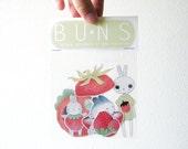 Stickers - Strawberry Bunny Stickers - Set of 5